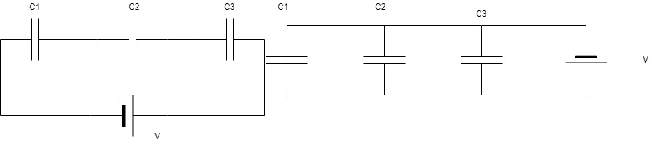 Capacitor in Series and Capacitor in Parallel