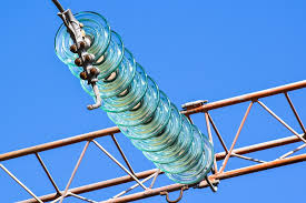 Image of Glass Insulators in the Transmission Line